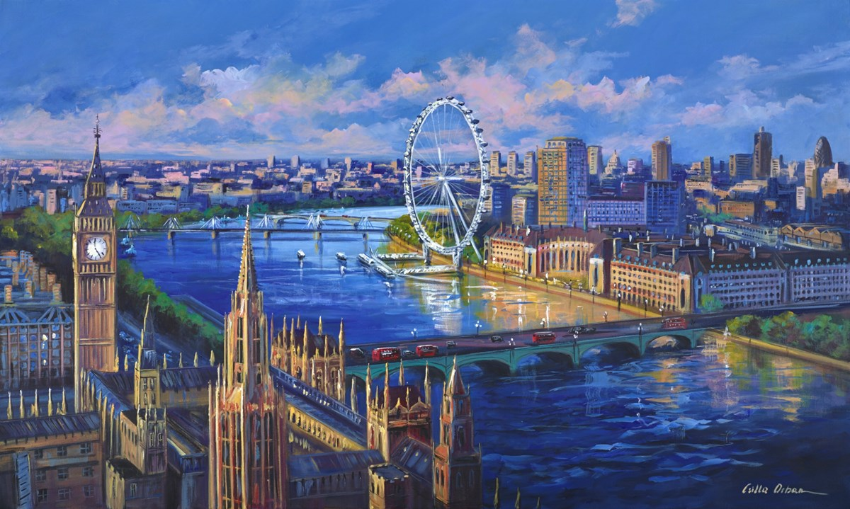 The Westminster View by csilla orban -  sized 60x36 inches. Available from Whitewall Galleries